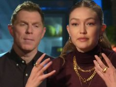 Supermodel Gigi Hadid and superchef Anne Burrell at Beat Bobby Flay Show