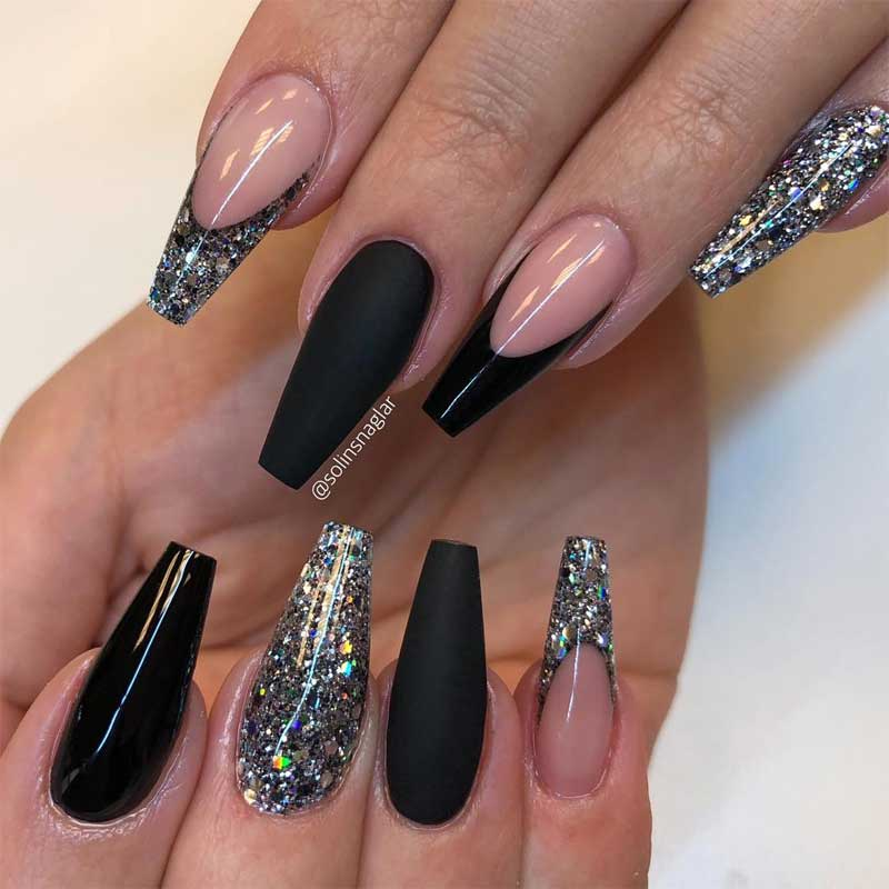 Black and Glitter Coffin Nails
