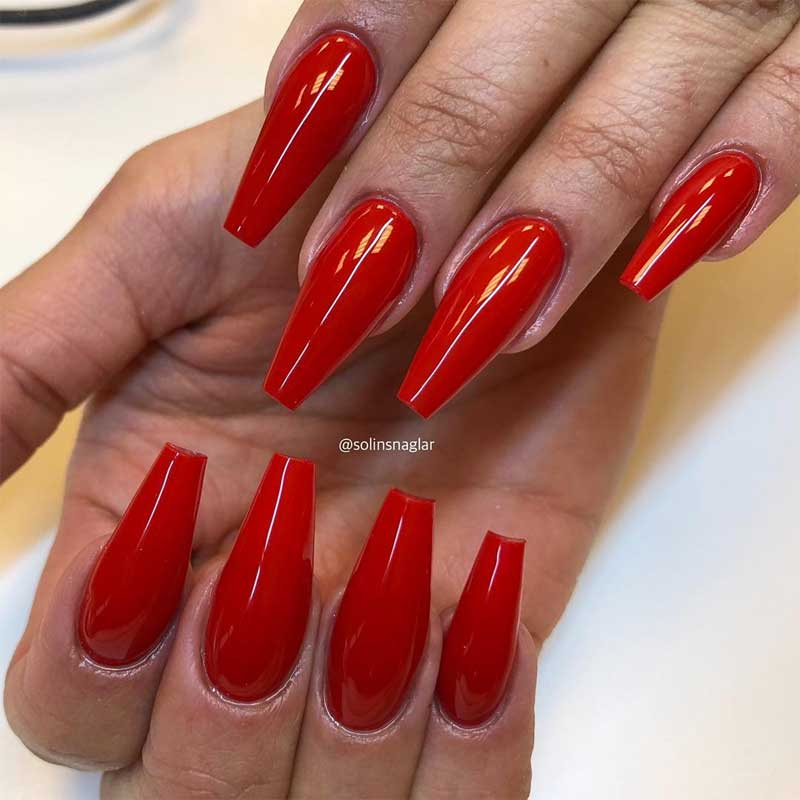 Classic Red Coffin Nails
