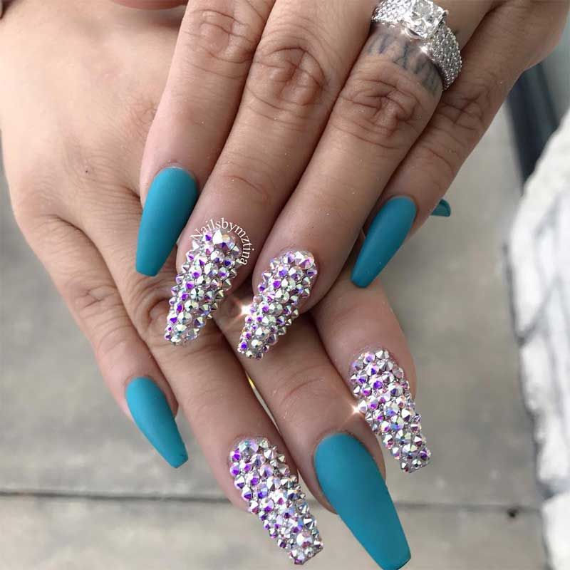 Turquoise Studs Coffin Nail Design
