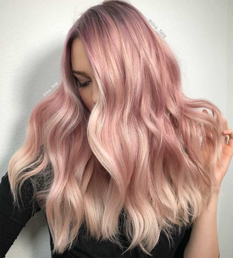 Rose-Gold Blonde Ombre Hair