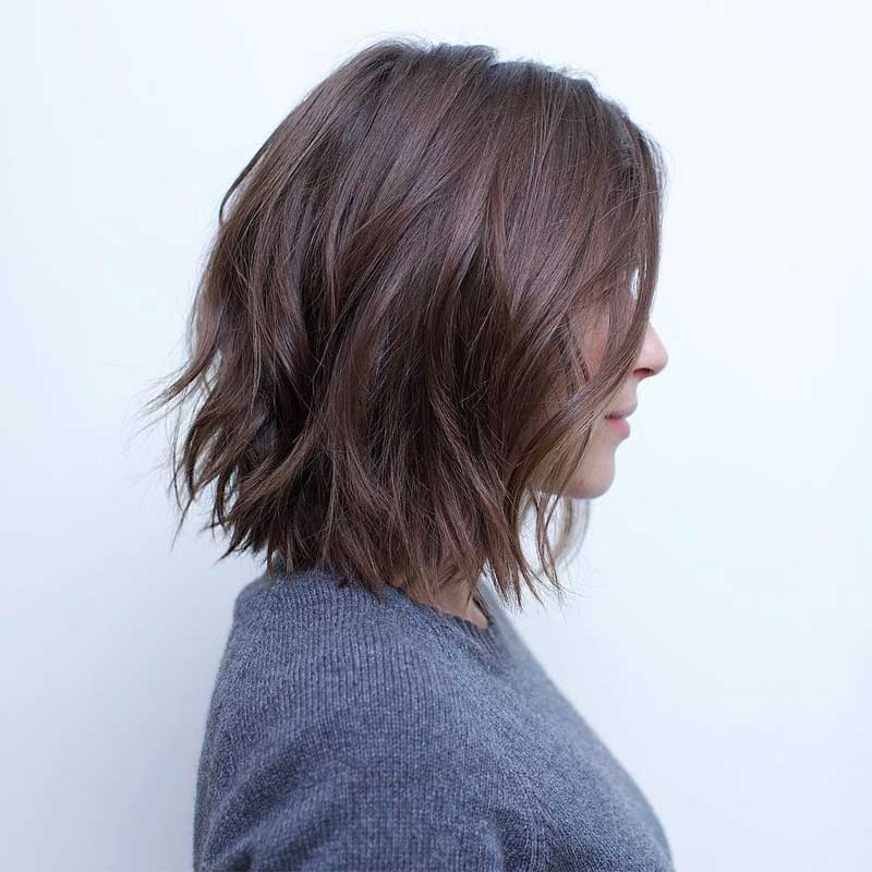 Choppy Chocolate Brown Lob Hairstyle