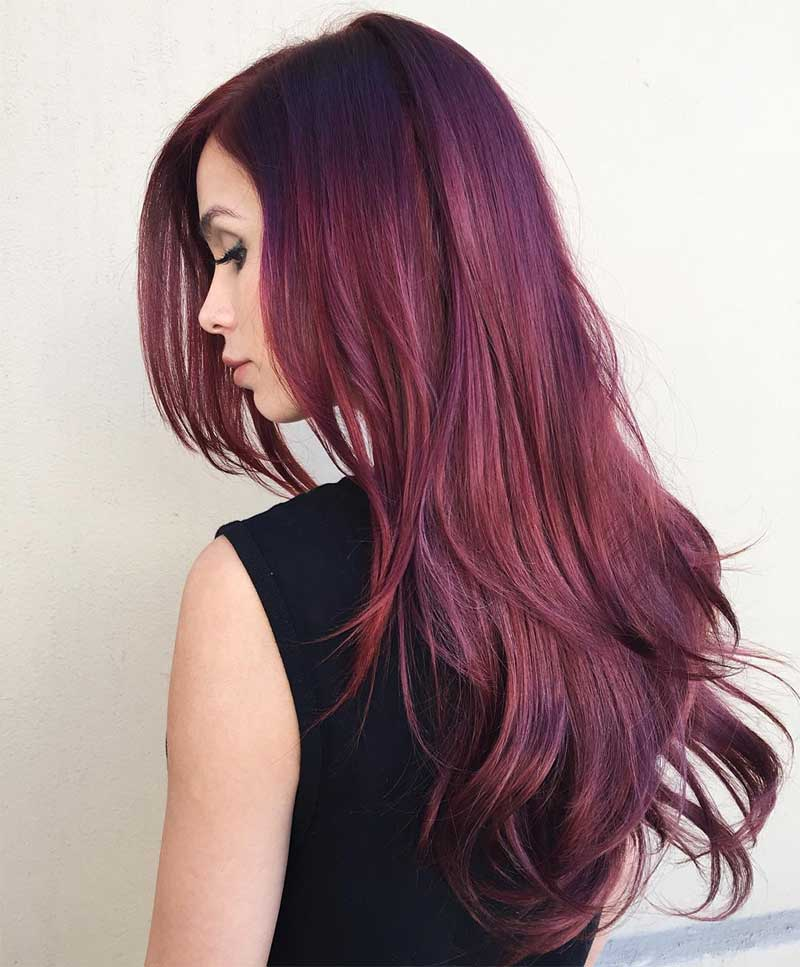 Long Side-Parted Burgundy Hairstyle
