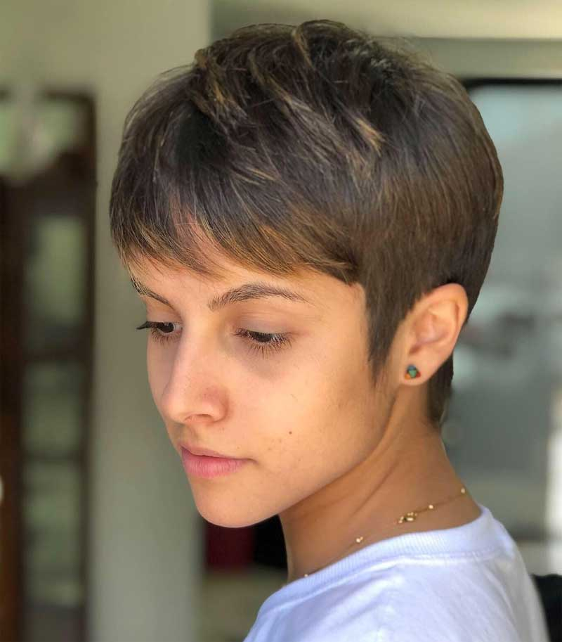 Short Piece-y Pixie Haircut with Highlights
