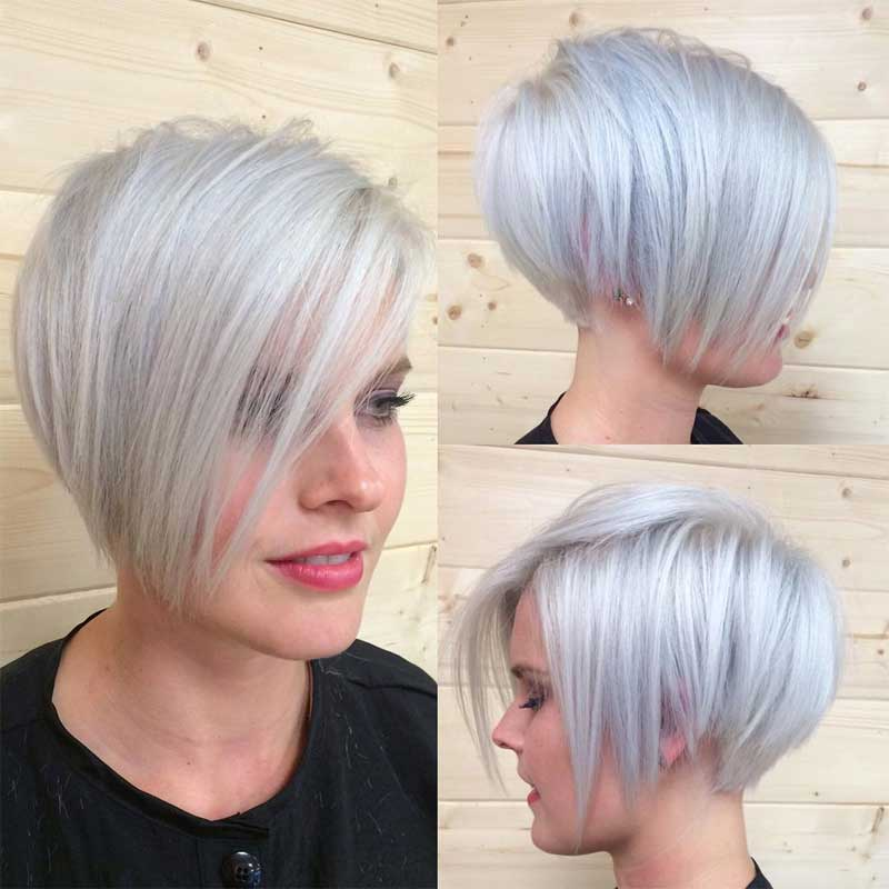 Silver Pixie Haircut for Long Face