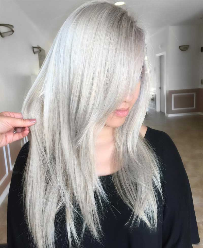 Silver Razored Ends Hairstyle
