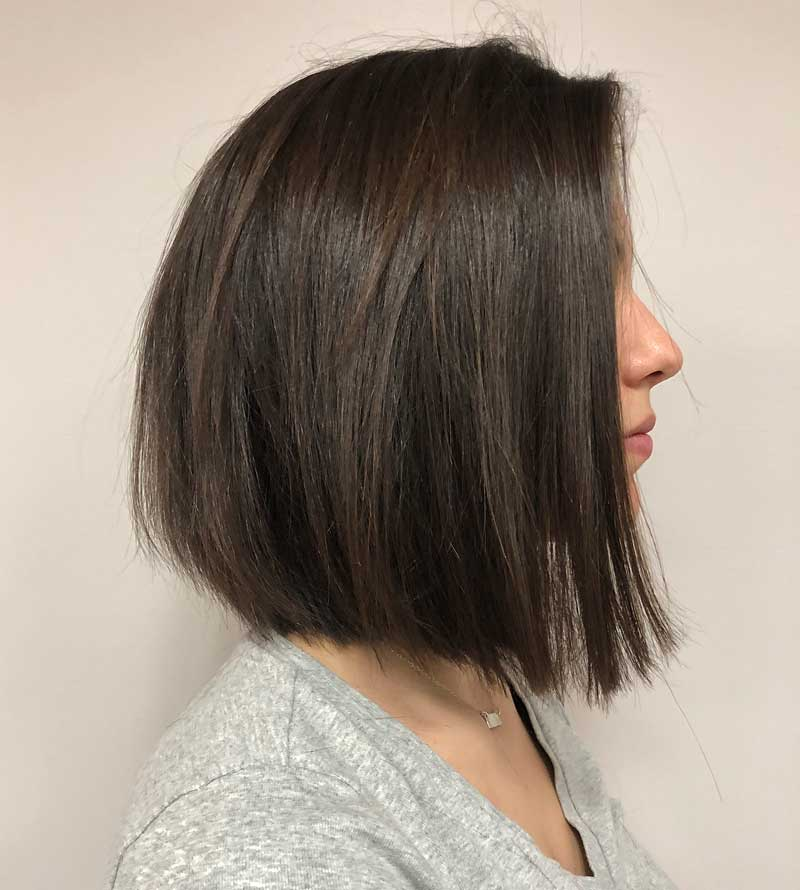 Straight Blunt Bob Hairstyle with Flyaways