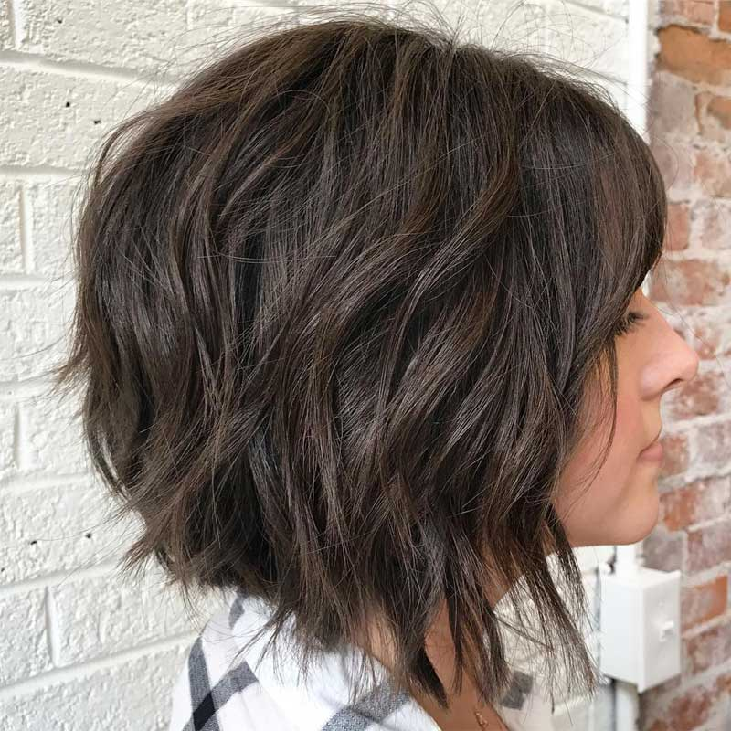 Brunette Choppy Layered Bob