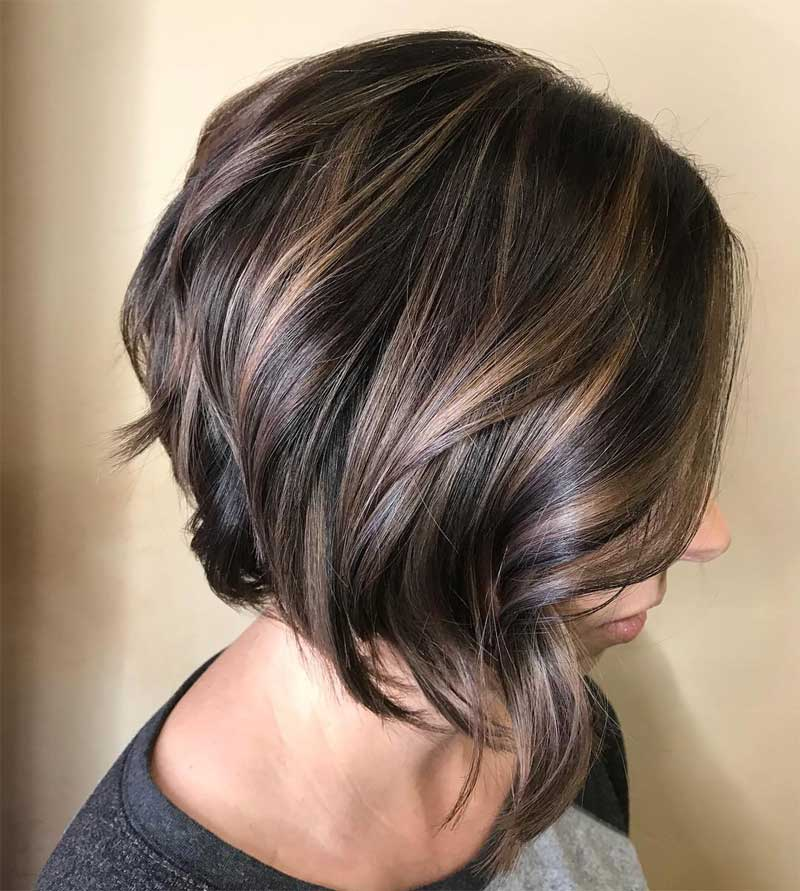 Side-Parted Angled Bob Hairstyle