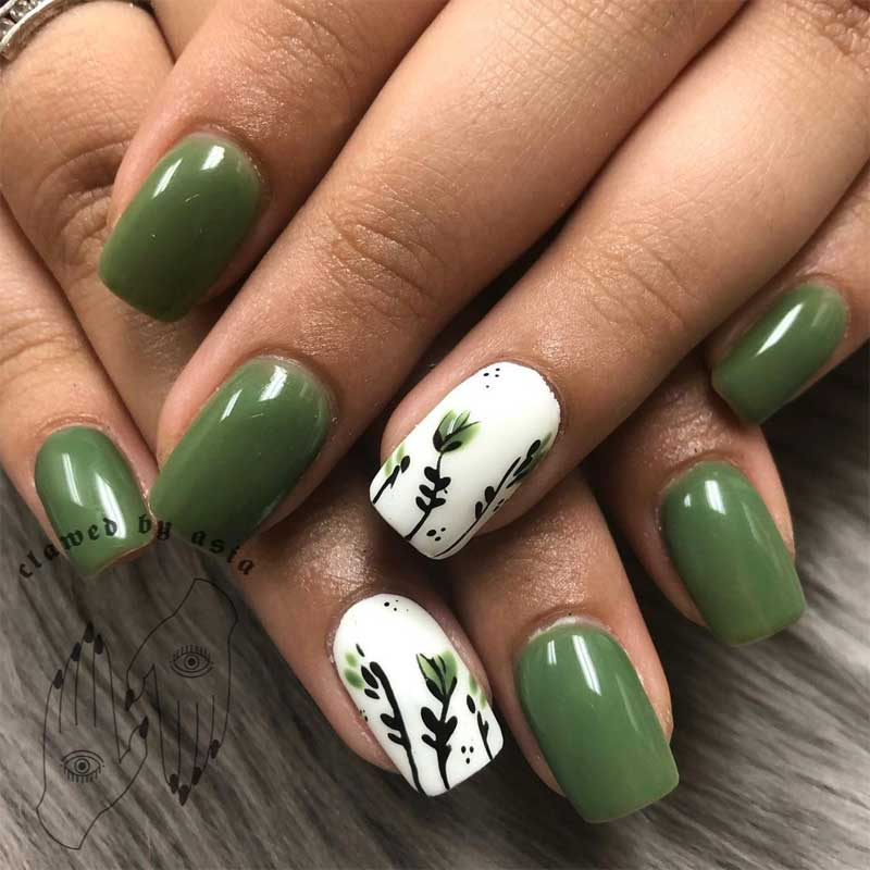 Short Floral Squoval Nails